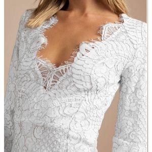 Tobi Dresses - White Lace Lydia Bell Sleeve Dress XS / Tobi